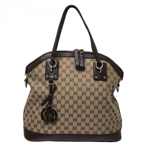Gucci Brown GG Canvas and Leather Large Charm Dome Satchel