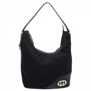 Gucci Black GG Canvas and Leather Britt Hobo