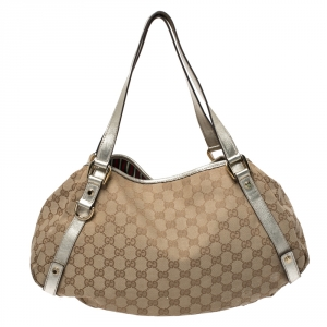 Gucci Beige/Silver GG Canvas and Leather Medium Abbey Shoulder Bag