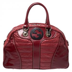 Gucci Red Leather Interlocking GG Satchel
