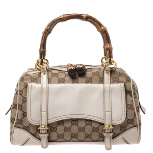 Gucci Beige/Cream GG Canvas and Leather Small Bamboo Boston Bag