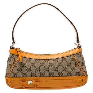 Gucci Beige/Orange GG Canvas and Leather Small Mayfair Shoulder Bag