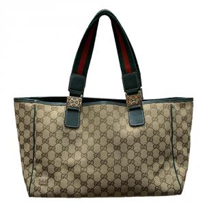 Gucci Beige/Green GG Canvas and Leather Shopper Tote