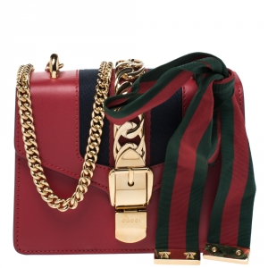 Gucci Red Leather Mini Web Chain Sylvie Shoulder Bag