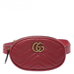 Gucci Red Matelasse Leather GG Marmont Belt Bag