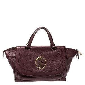 Gucci Metallic Burgundy Leather Large 1973 Satchel