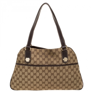 Gucci Beige/Brown GG Canvas and Leather Charmy Satchel