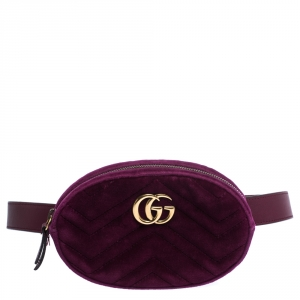 Gucci Purple Matelassé Velvet GG Marmont Belt Bag