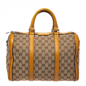 Gucci Beige/Yellow GG Canvas and Leather Medium Boston Bag