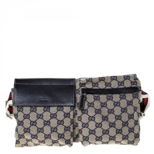 Gucci Navy Blue GG Canvas Web Shelley Belt Bag