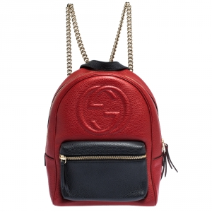 Gucci Red/Navy Blue Leather Soho Chain Backpack
