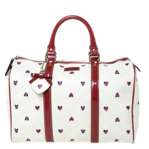 Gucci Red/White Heart Print GG Canvas and Leather Joy Boston Bag with Heart Charm