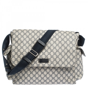Gucci Beige/Black GG Supreme Canvas and Leather Diaper Messenger Bag
