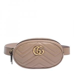 Gucci Biege Matelasse Leather GG Marmont Belt Bag