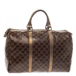 Gucci Gold/Beige GG Crystal Canvas Large Joy Boston Bag
