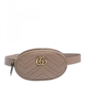Gucci Beige Matelasse Leather GG Marmont Belt Bag