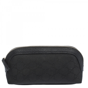 Gucci Black GG Canvas and Leather Cosmetic Pouch