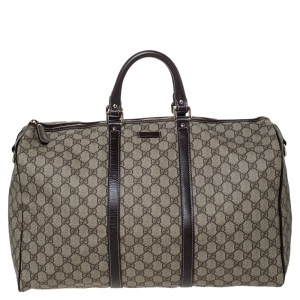 Gucci Beige/Brown GG Supreme Canvas and Leather Medium Carry On Duffle Bag