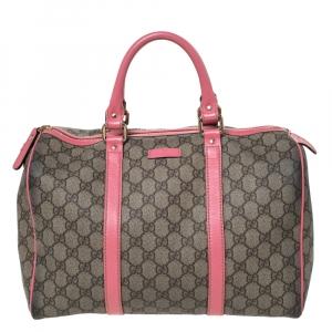 Gucci Pink/Beige GG Supreme Canvas and Leather Medium Joy Boston Bag