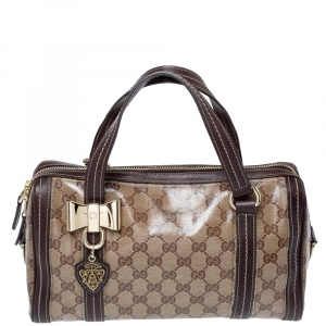 Gucci Beige/Ebony Crystal Coated Canvas and Leather Duchessa Satchel