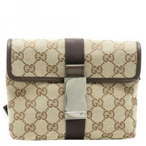 Gucci Beige/Brown GG Canvas Leather Belt Bag
