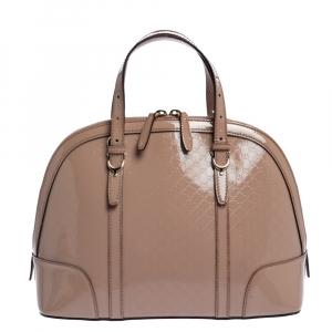 Gucci Beige Microguccissima Patent Leather Nice Satchel