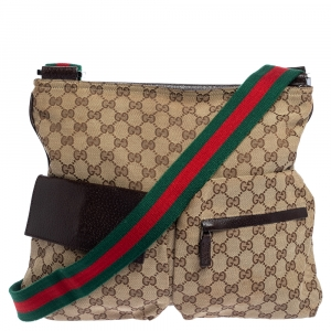Gucci Beige/Brown GG Canvas and Leather Messenger Bag