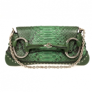 Gucci Green Python Horsebit Evening Bag