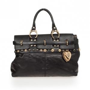 Gucci Black Leather Babouska Flap Satchel
