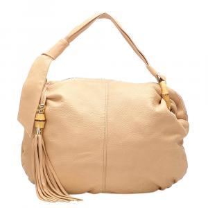Gucci Brown Leather Bamboo Jungle Hobo Bag