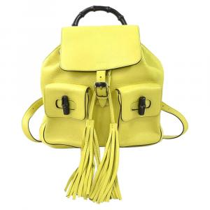 Gucci Yellow Leather Tassel Bamboo Daily Backpack