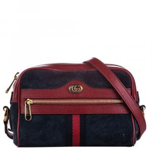 Gucci Red/Blue Suede And Leather Mini Ophidia Crossbody Bag