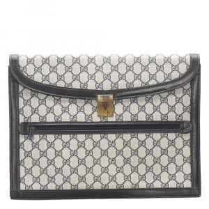 Gucci Grey/Blue GG Supreme Canvas Clutch Bag