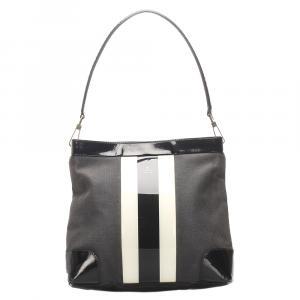 Gucci Black/White Canvas Web Shoulder Bag