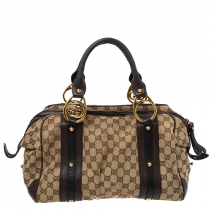 Gucci Beige/Brown GG Canvas and Leather G Interlocking Bowler Bag