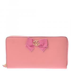 Gucci Pink Leather GG Marmont Long Wallet