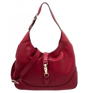 حقيبة غوتشي جاكي جلد أحمر متوسطة