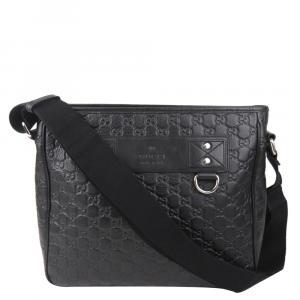 Gucci Black Guccissima Leather Crossbody Bag