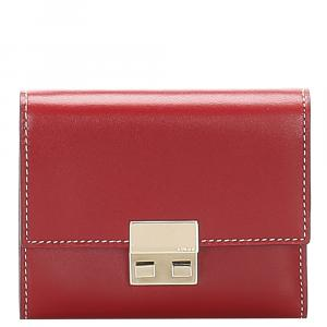 Gucci Red Leather Tri-fold Wallet