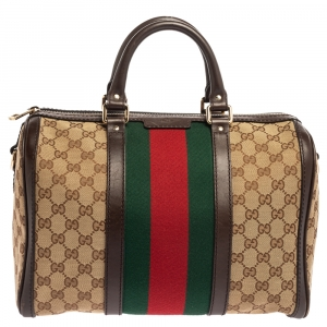Gucci Beige/Brown GG Canvas and Leather Medium Vintage Web Boston Bag