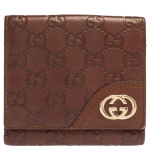 Gucci Brown Guccissima Leather GG Logo French Wallet