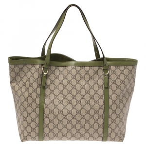 Gucci Green/Beige GG Supreme Canvas and Leather Medium Nice Tote