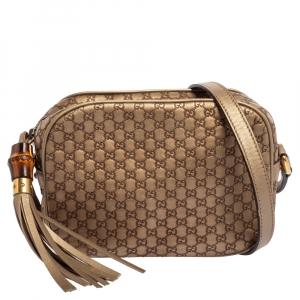 Gucci Metallic Beige Micro Guccissima Leather Camera Crossbody Bag