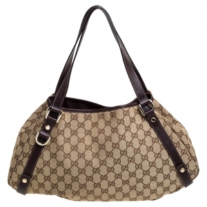 Gucci Beige/Brown GG Canvas and Leather Medium Abbey Shoulder Bag
