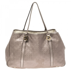 Gucci Metallic Lilac Guccissima Leather Large GG Twins Tote