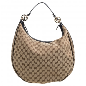 Gucci Black/Beige GG Canvas Large GG Twins Hobo