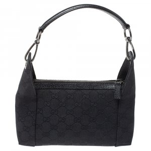 Gucci Black GG Canvas Zip Hobo