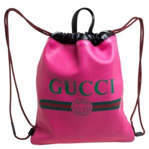 حقيبة ظهر غوتشي جلد أسود/وردي محبب بالشعار ورباط