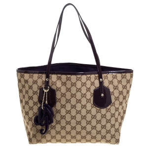 Gucci Beige GG Canvas and Patent Leather Medium Jolie Charm Tote