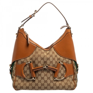 Gucci Beige/Tan Canvas and Leather Web Horsebit Heritage Hobo